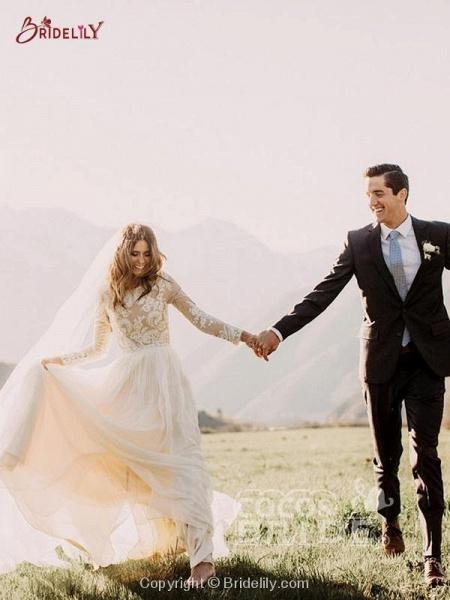 Beach Boho Wedding Dresses with Long Sleeve_8