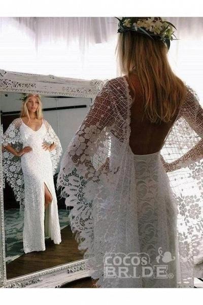 Ivory Boho with Batwing Sleeve Lace Rustic Backless Wedding Dress_2