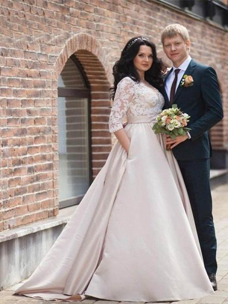 V-neck Half Sleeves Laces Ruffles Wedding Dresses_1