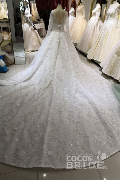 Luxury Beaded Long Sleeve Lace Ball Gown Wedding Dress_5