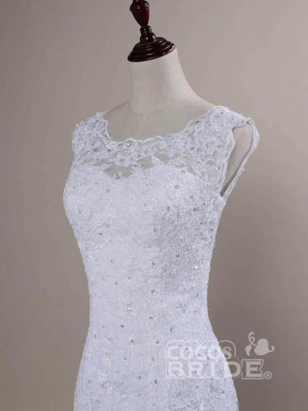 Beaded Lace Backless Mermaid  Wedding Dresses_4