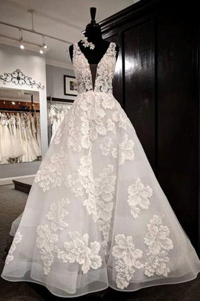 White Tulle V Neck Flower Lace Applique Long Wedding Dress_1