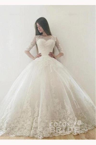 Ivory Puffy Half Sleeves Long Vintage Tulle Bateau Appliques Wedding Dress_2