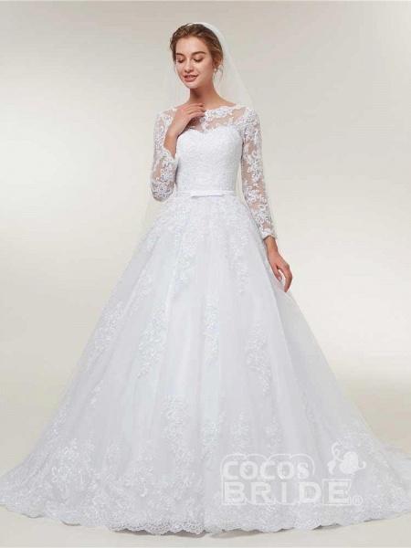 Glamorous Long Sleeve Lace Ruffles Wedding Dresses_2