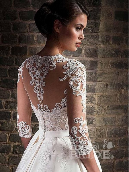 V-Neck Lace Applique Ball Gown Wedding Dresses_2