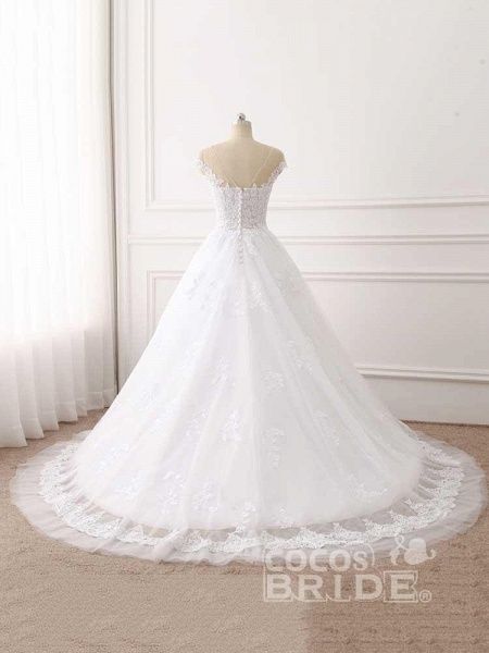 Lace Appliques Ball Gown Wedding Dresses_3