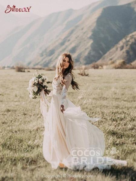 Beach Boho Wedding Dresses with Long Sleeve_2