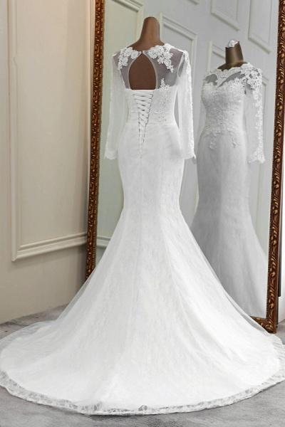 Elegant Mermaid Tulle Jewel Long Sleeves Wedding Dress_2