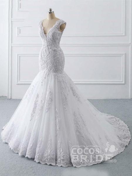 V-Neck Mermaid Lace Wedding Dresses_2
