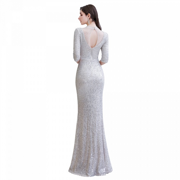 Gorgeous Silver Long sleeves Long Prom Dress_12