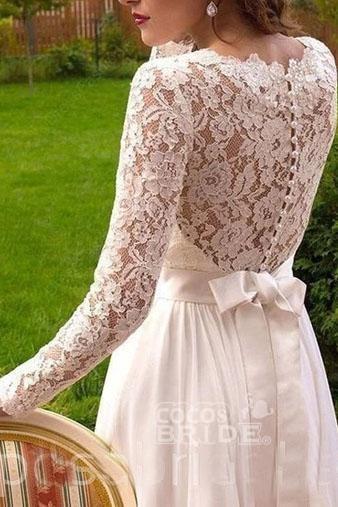 Vintage Long Sleeves Chiffon with Lace Flowy Beach Wedding Dress_2