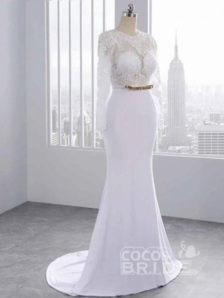 Elegant Long Sleeves Lace Mermaid Sashes Wedding Dresses_2