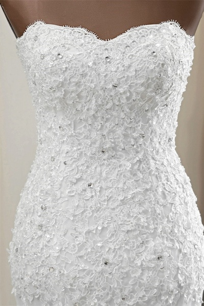 Chic Long Mermaid Strapless Lace Appliques Wedding Dress with Beadings_5