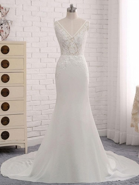 Modest V-Neck Lace Mermaid Wedding Dresses_1