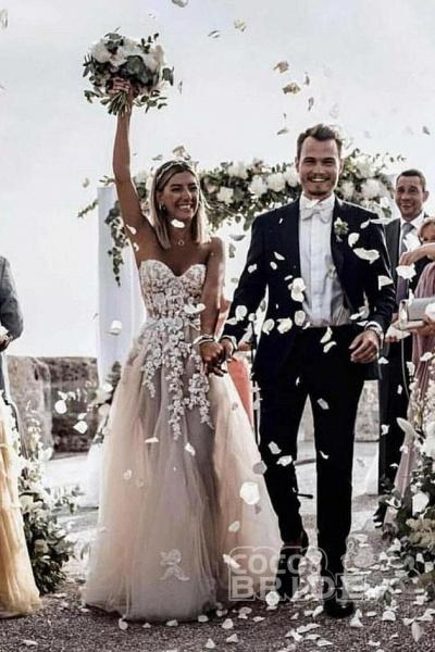 Boho Sweetheart Tulle Long Beach Charming Appliques Wedding Dress_5