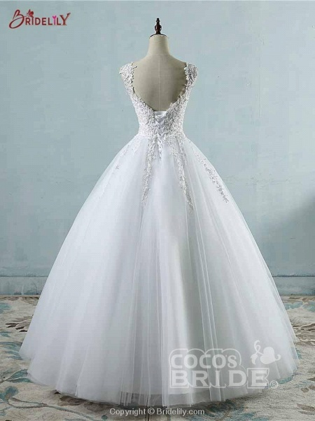 Spaghetti Straps Lace-Up Ball Gown Wedding Dresses_3