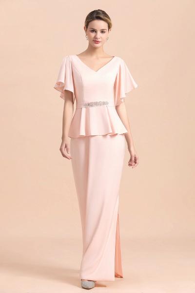 Glamorous V-Neck Beadings Sash Pink Mother of Bride Dresses_9
