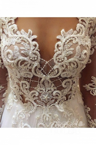 Elegant Beading Lace Long Sleeve Sheer Neck Ball Gown Wedding Dress_2