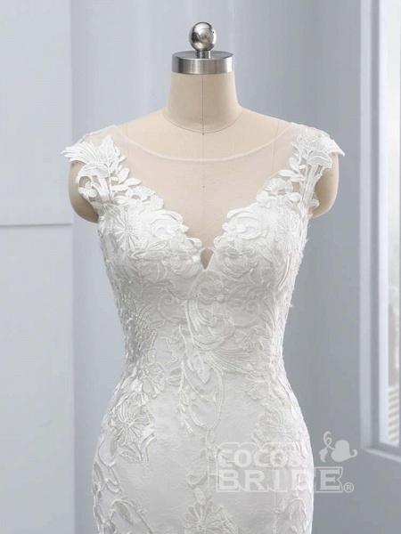 New V-Neck Lace Mermaid Wedding Dresses_5
