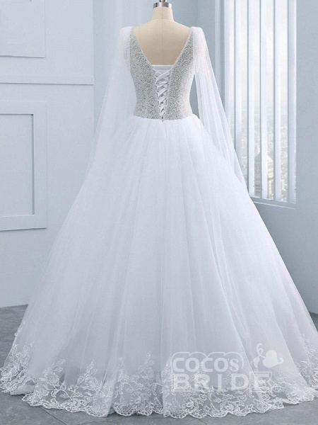 Beautiful V-neck Pearls Princess Wedding Dresses_2