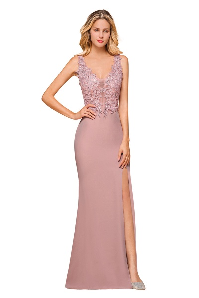 Dusty Pink Mermaid Lace Long Sleeveless Evening Gowns_9
