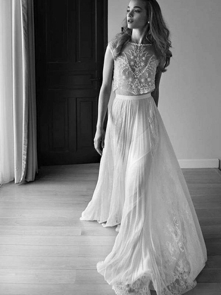Two Piece Sweetheart Low Back Pearls Beading A-Line Wedding Dresses_1