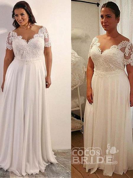 Elegant Half Sleeves V-Neck Lace A-Line Wedding Dresses_2