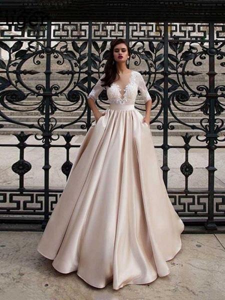 Vintage Half Sleeves Lace Satin Wedding Dresses_1