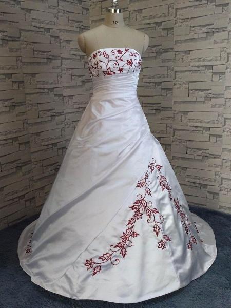 Modest Strapless Beading Sweep Train A-Line Wedding Dresses_1