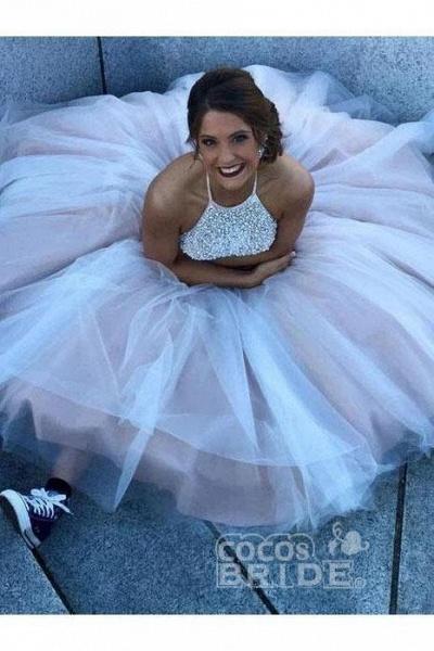 Gorgeous Halter Beading Beaded Backless Mermaid Wedding Dress_3