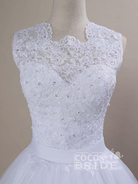 Modest Lace Covered Button Ball Gown Wedding Dresses_5
