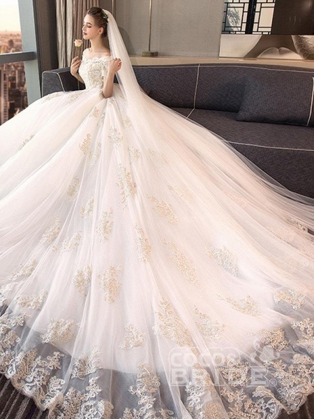 Elegant Off-the-Shoulder Lace Ball Gown Wedding Dresses_2