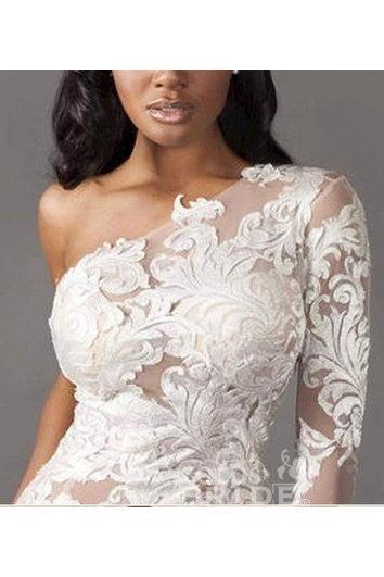 One Shoulder Long Sleeve Tulle Lace Mermaid Wedding Dress_2