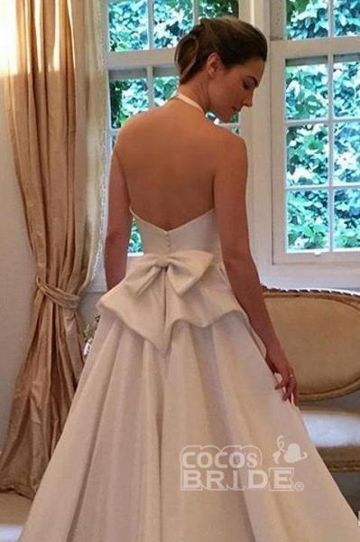 A Line Halter Satin Simple Backless Sleeveless Wedding Dress with Bow_2