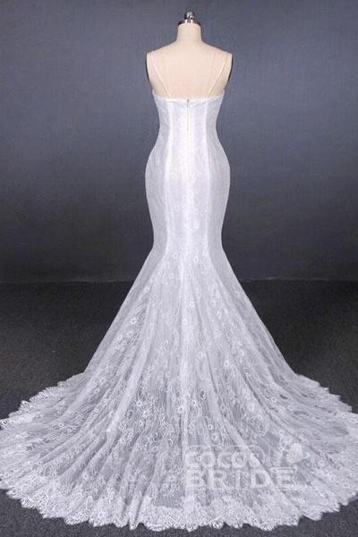 Spaghetti Straps Mermaid with Appliques Lace Beach Wedding Dress_5