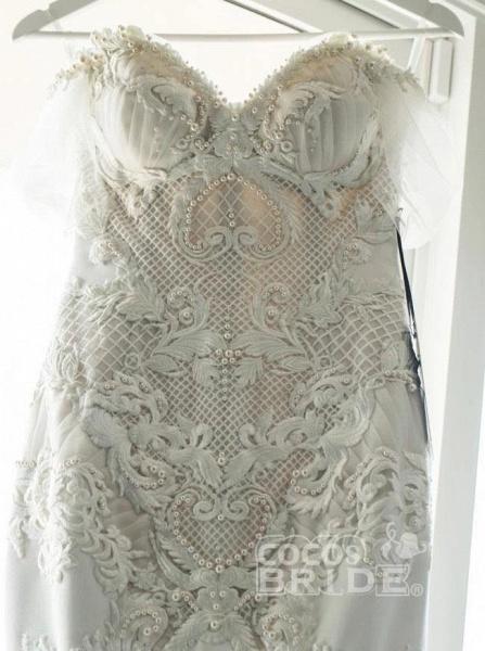 Gorgeous Mermaid Off the Shoulder Lace Appliques Wedding Dress_4