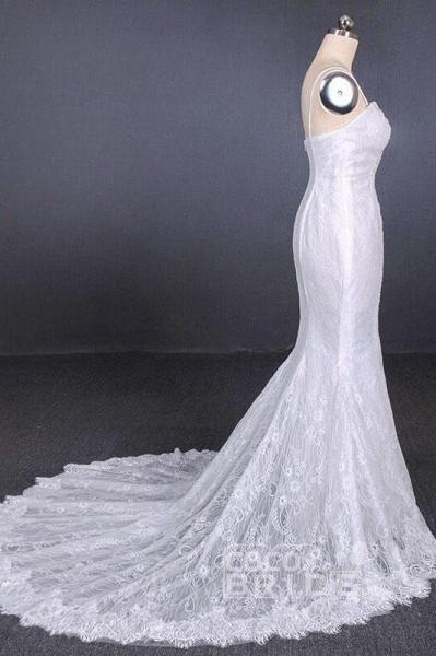 Spaghetti Straps Mermaid with Appliques Lace Beach Wedding Dress_2