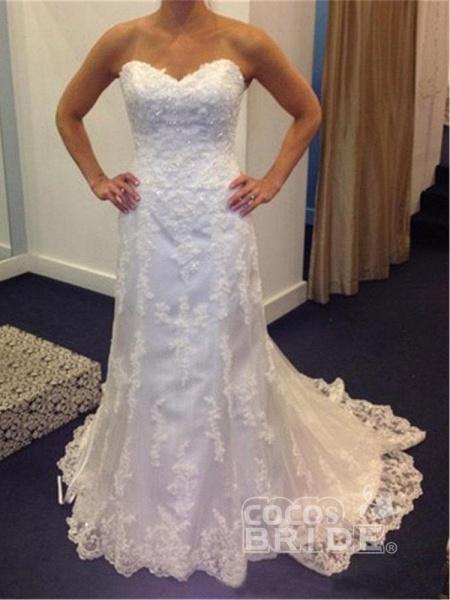Gentle Sweetheart Sleeveless Lace Mermaid Wedding Dresses_4
