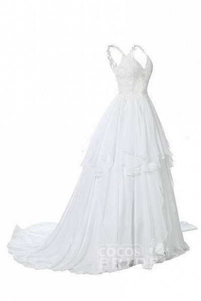Straps V Neck Illusion Chiffon Beach Gown Cheap Wedding Dress_6