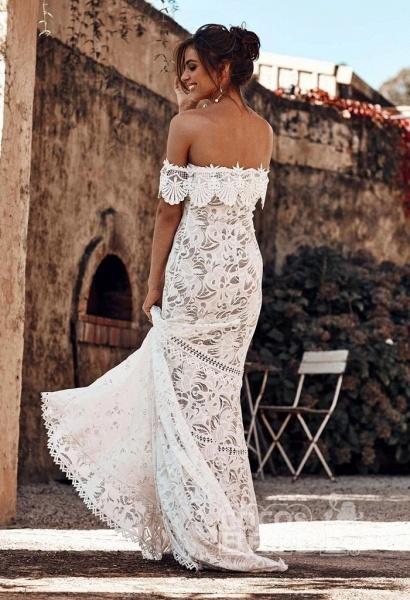 Charming Off the Shoulder Lace Boho Beach Wedding Dress_5