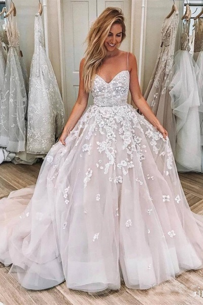 Spaghetti Strap Sleeveless Lace Applique Puffy Long Wedding Dress_1