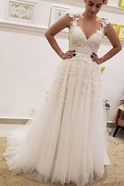 Simple Tulle Lace Illusion Back A-Line A Line V Neck Wedding Dress_1