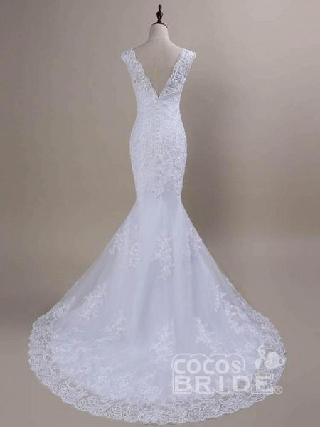 Beaded Lace Backless Mermaid  Wedding Dresses_3