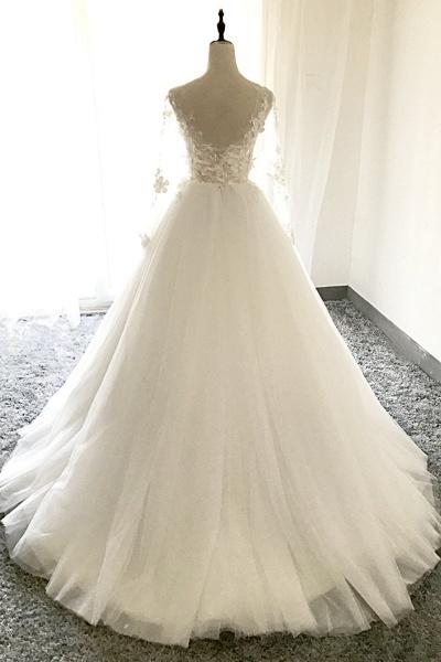 White Tulle 3D Lace Applique Open Back Long Wedding Dress_3