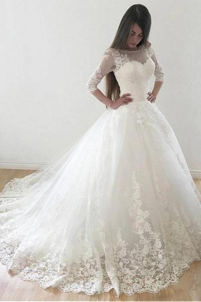 Ivory Puffy Half Sleeves Long Vintage Tulle Bateau Appliques Wedding Dress_1