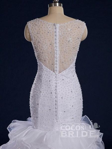 Gorgeous Sleeveless Covered Button Mermaid Wedding Dresses_4