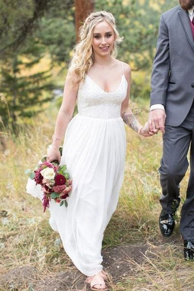 A Line V Neck Spaghetti Strap Beach Lace Top Wedding Dress_1