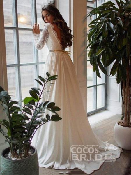 Glamorous Long Sleeves Sashes Ruffles  Wedding Dresses_2