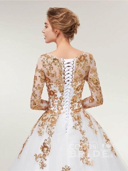 Golden Jewel Long Sleeve Ball Gown Wedding Dresses_5