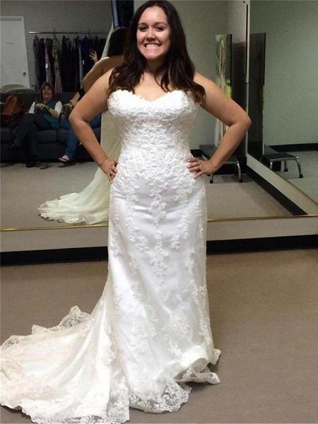 Gentle Sweetheart Sleeveless Lace Mermaid Wedding Dresses_1